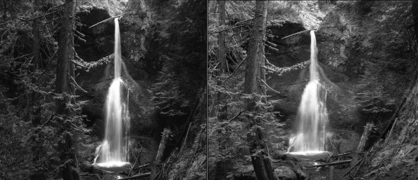 Two shots of Marymere Falls